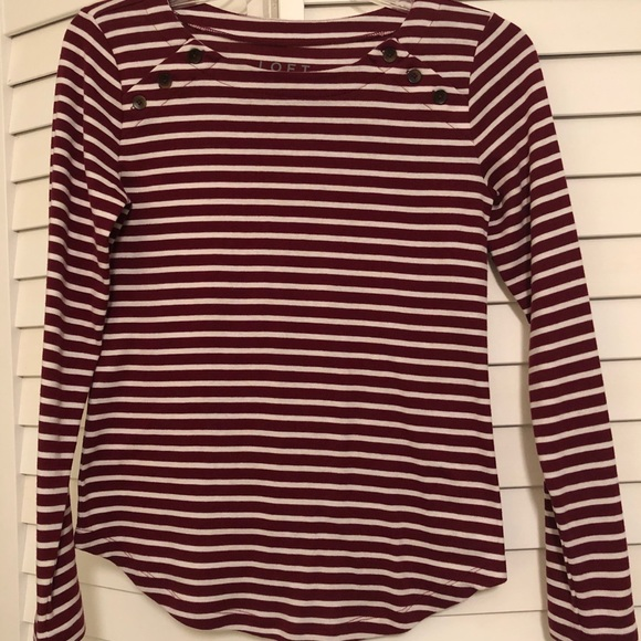 LOFT Tops - Loft dark red and white striped